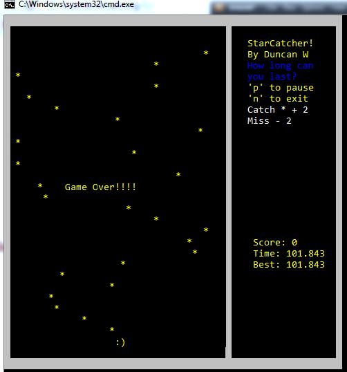 C++ Star catcher game – Duncan Winfrey